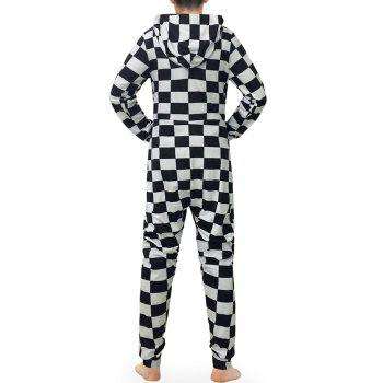 Check Print Zip Up Hooded Jumpsuit - multicolor L