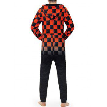 Zip Up Hooded Check Print Jumpsuit - multicolor M