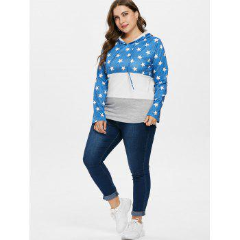 Plus Size Drawstring Star Pattern Hoodie - DEEP SKY BLUE L