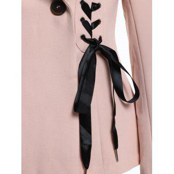 Lapel Lace Up Blazer - PINK L