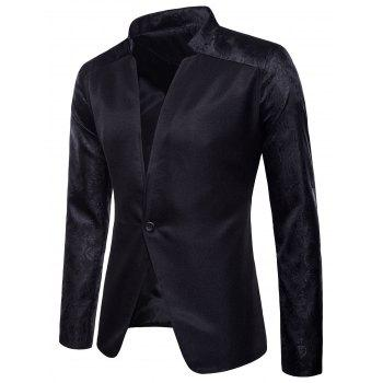 Casual One Button Patchwork Raglan Sleeve Blazer - BLACK M