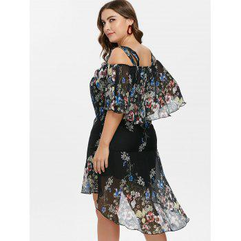 Plus Size Floral Overlay High Low Dress - BLACK L