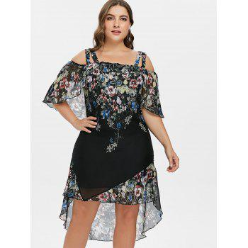 Plus Size Floral Overlay High Low Dress - BLACK 1X