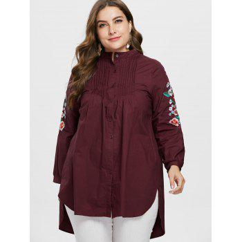 Floral Embroidery Plus Size Pleated Shirt - RED WINE 2X