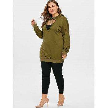 Plus Size Cut Out Lace Insert Hoodie - ARMY GREEN 5X