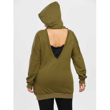 Plus Size Cut Out Lace Insert Hoodie - ARMY GREEN 3X