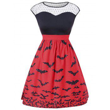 Robe vintage sans manches grande taille Halloween - Rouge L