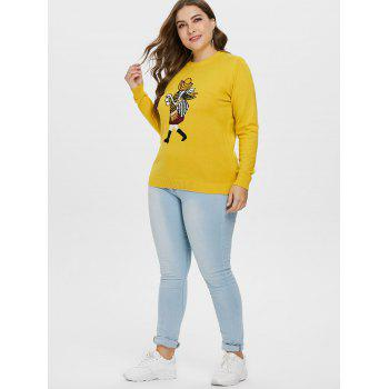 Plus Size Fitted Graphic Sweater - YELLOW 2X