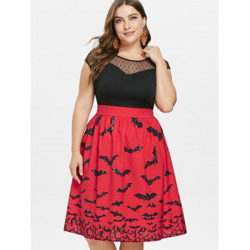 Plus Size Halloween Sleeveless Vintage Dress - RED 5X