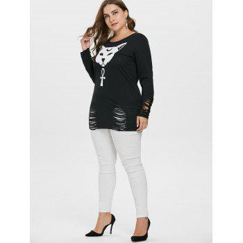 Plus Size Ripped Sleeve Pattern T-shirt - BLACK 4X