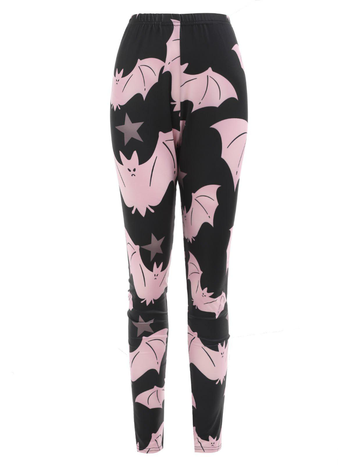 Halloween Cartoon Cartoon Bats Imprimer Leggings d'entraînement - Noir M