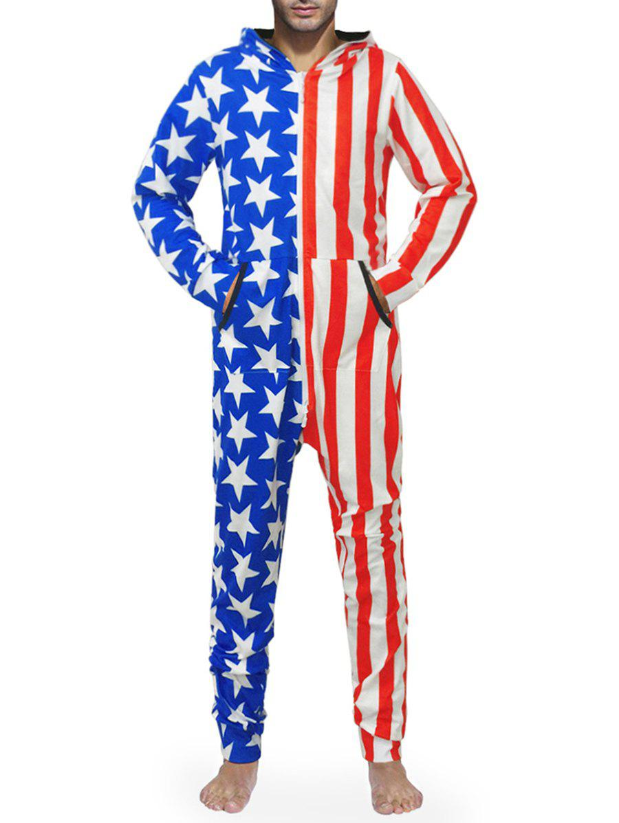 Hooded Zip Up American Flag Print Jumpsuit - multicolor XL