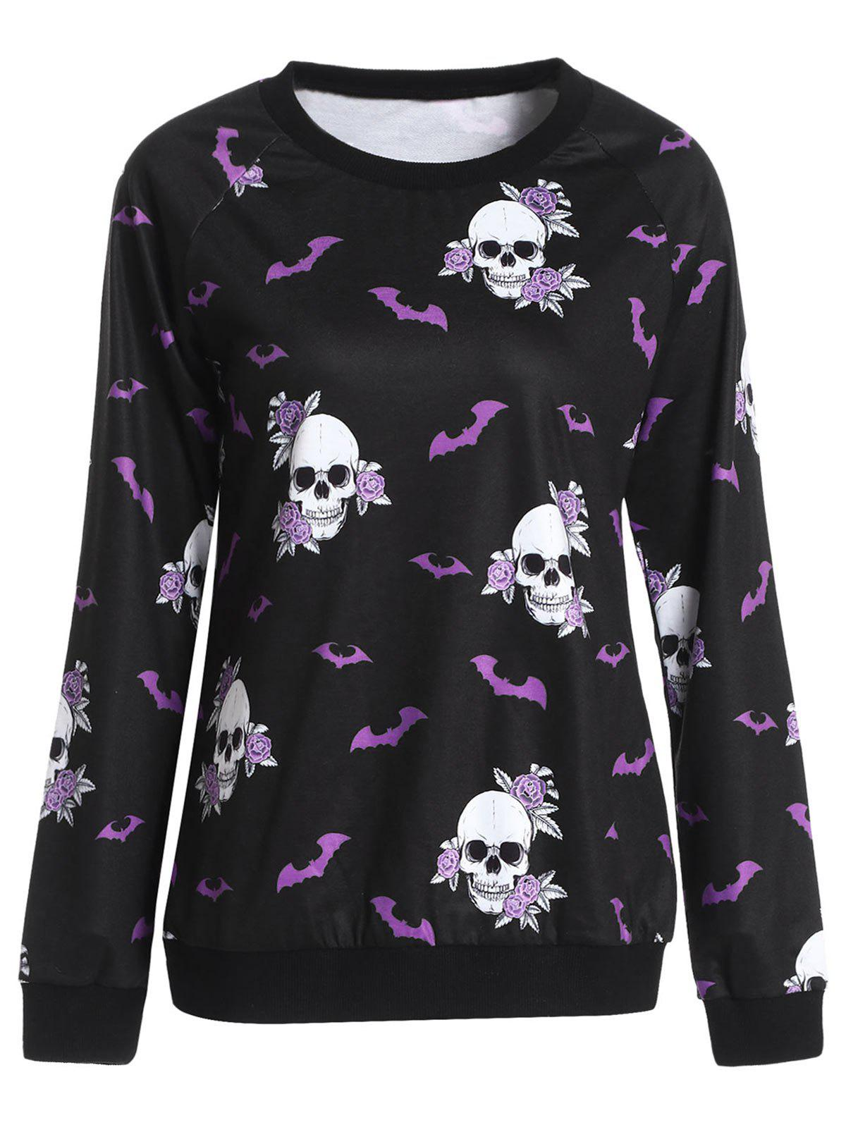 Halloween Skull Bat Print Sweatshirt - BLACK L