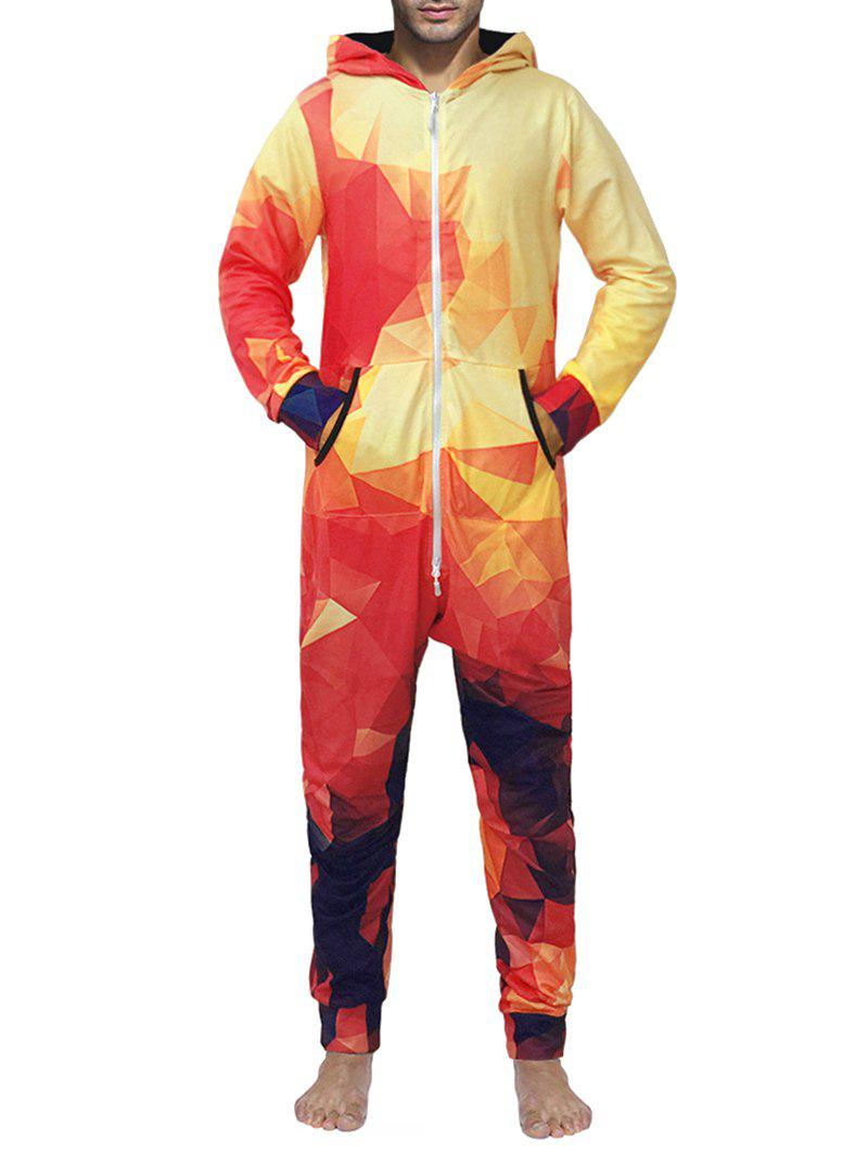 Zip Up Hooded Geometric Print Jumpsuit - multicolor 2XL