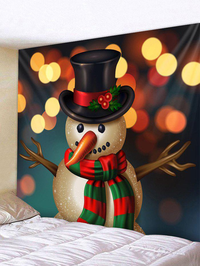 Christmas Hatted Snowman Print Tapestry Wall Art, Multi