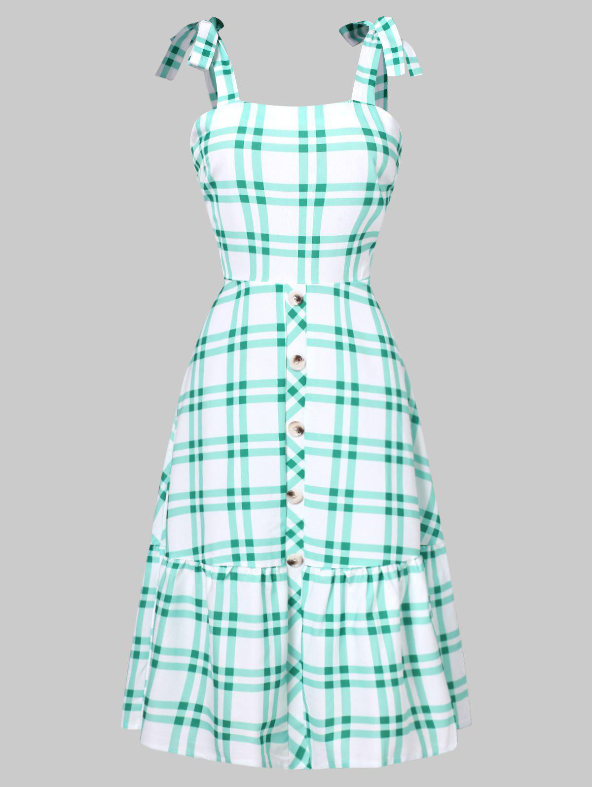 Tie Shoulder Tartan Flounced Flare Dress - LIGHT AQUAMARINE M