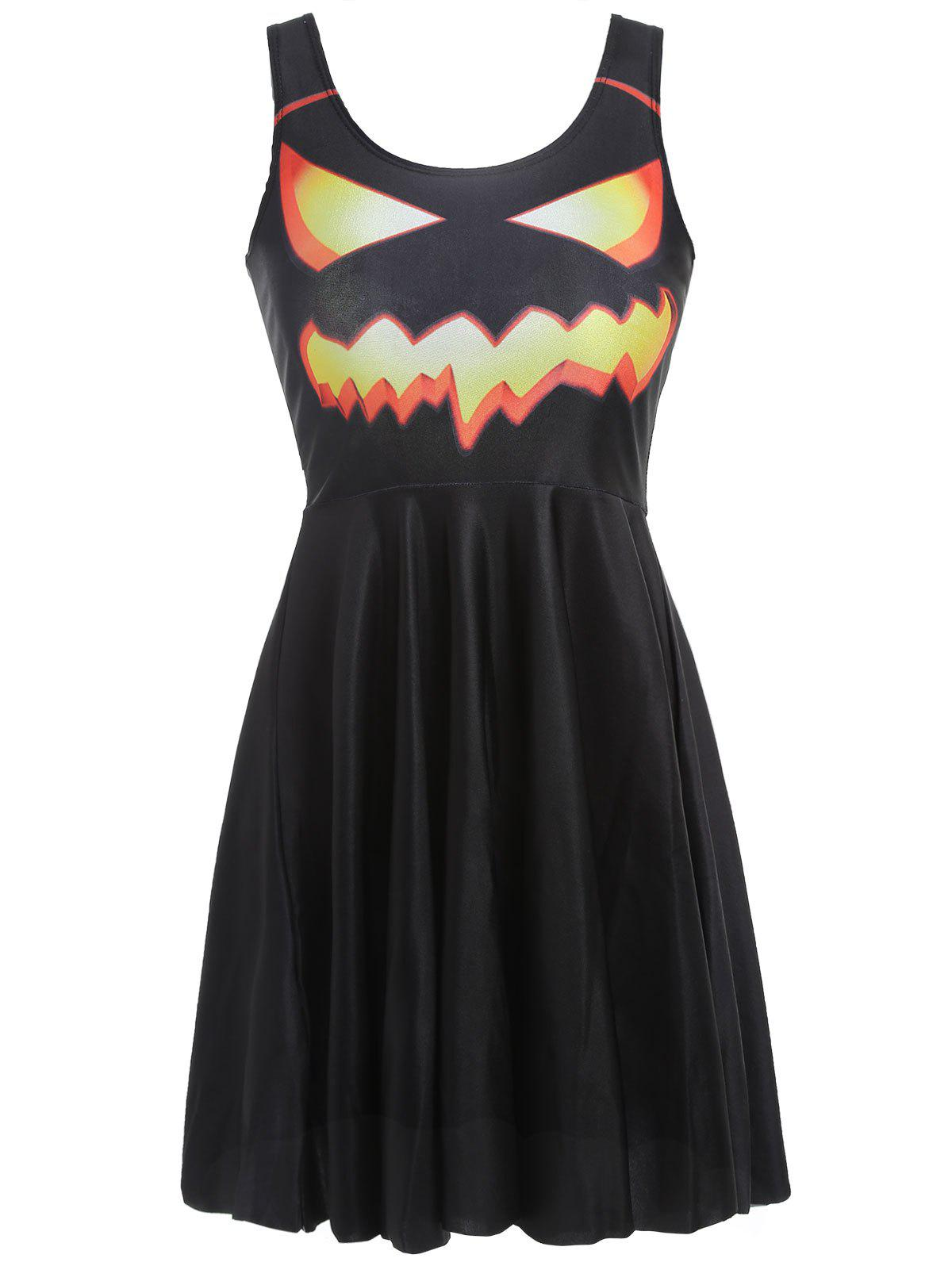 Halloween Pumpkin Print Flared Dress - BLACK M