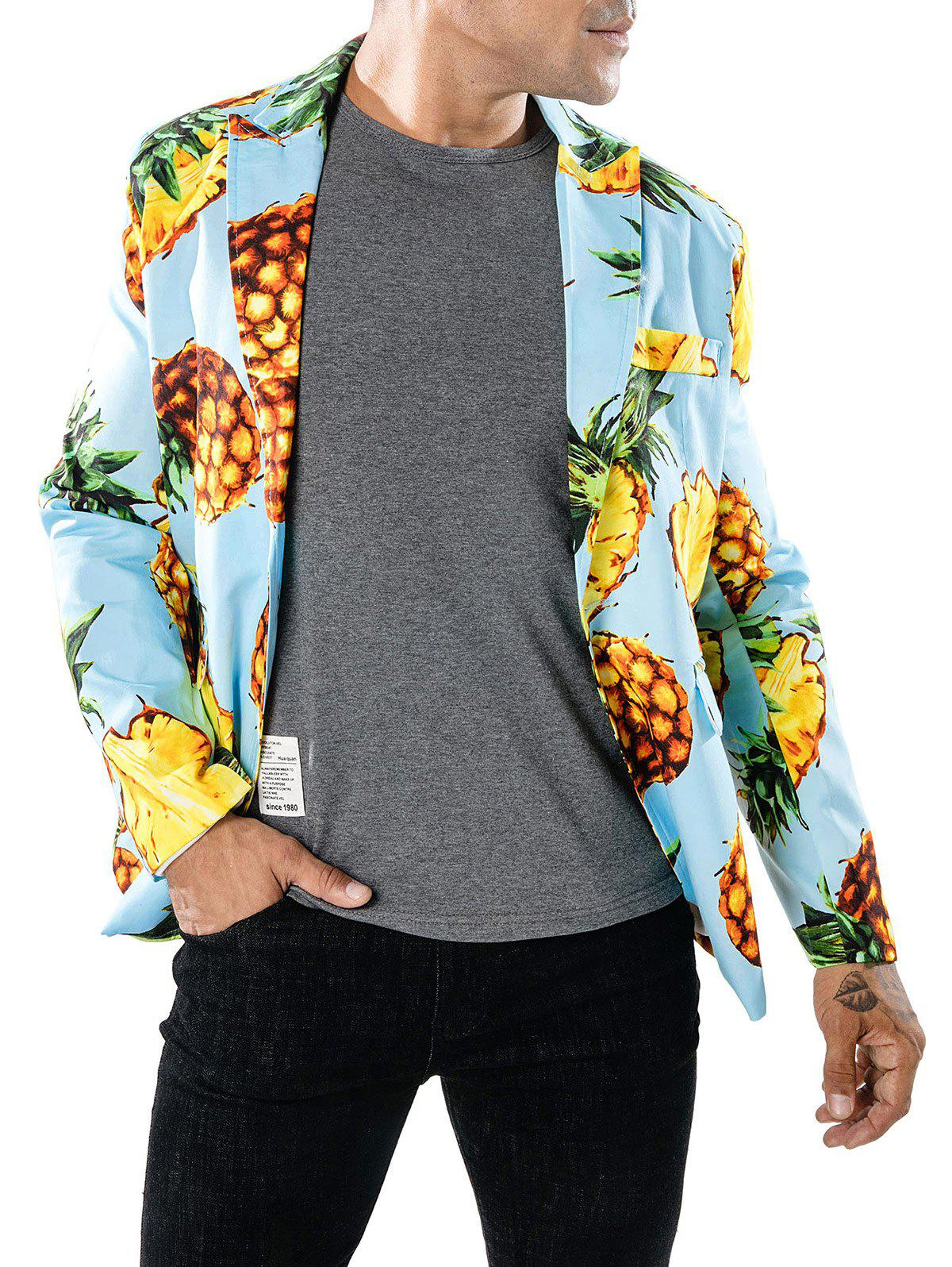 Pineapple Print Slim Fit Blazer - LIGHT BLUE L
