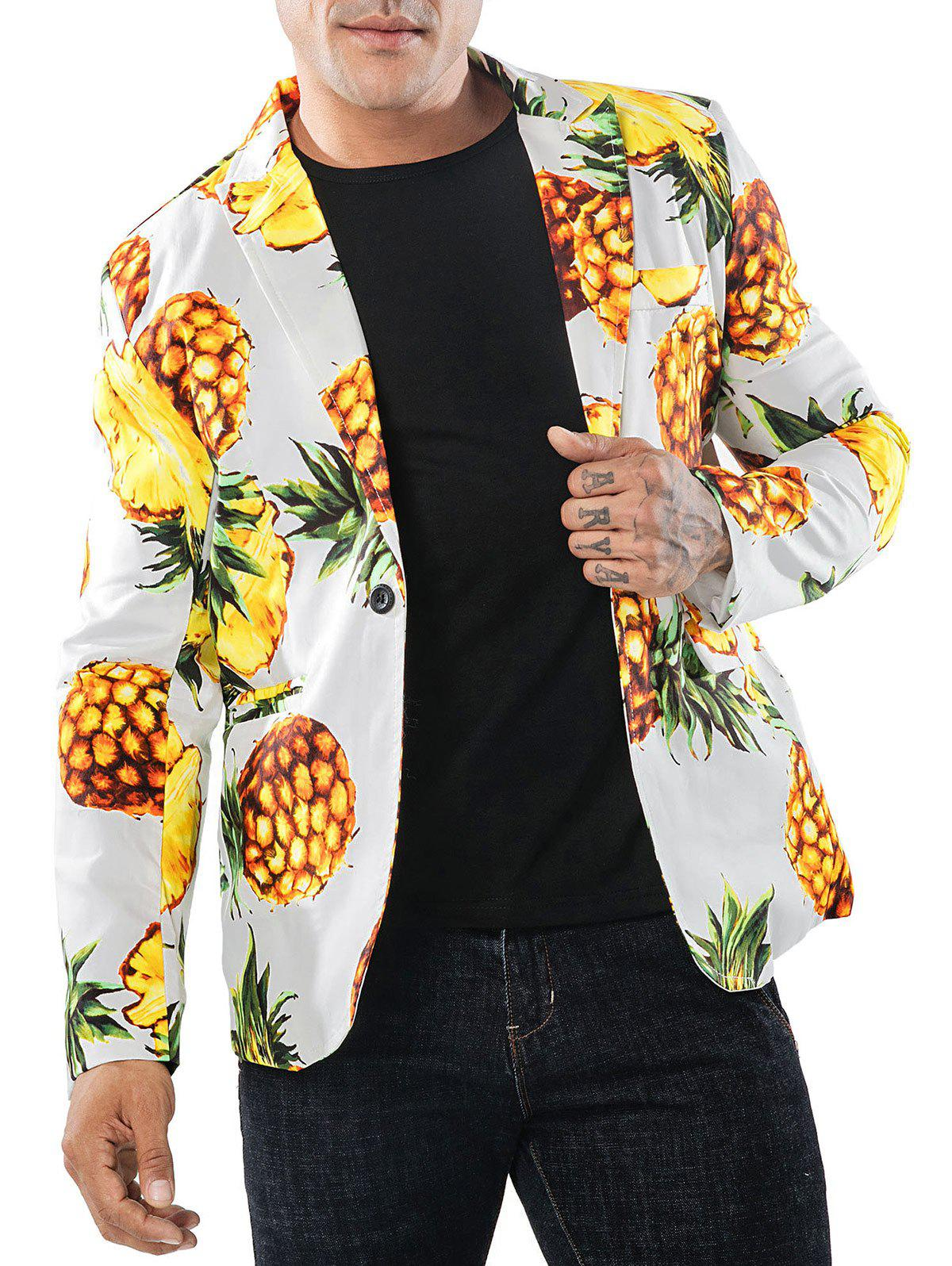 Pineapple Print Slim Fit Blazer - WHITE L