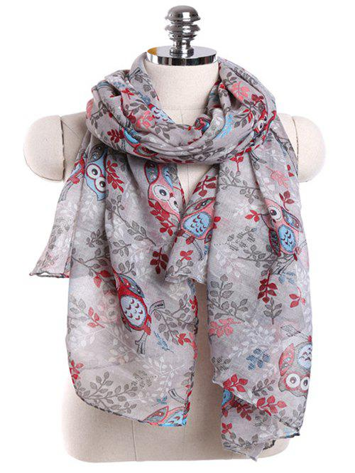 Cute Owl Pattern Embellished Spring Fall Scarf - DARK GRAY