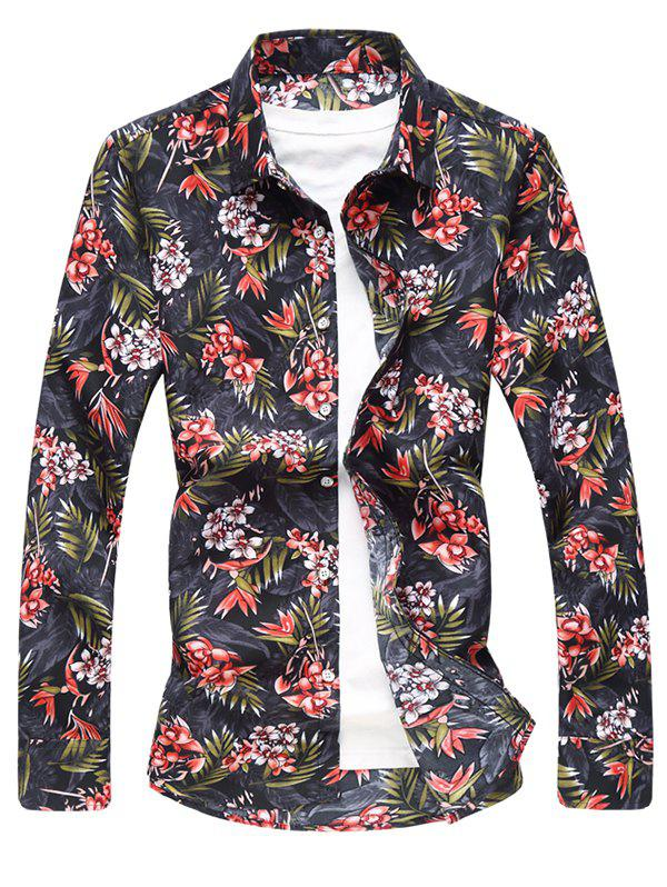 Long Sleeve Flower and Leaves Print Shirt