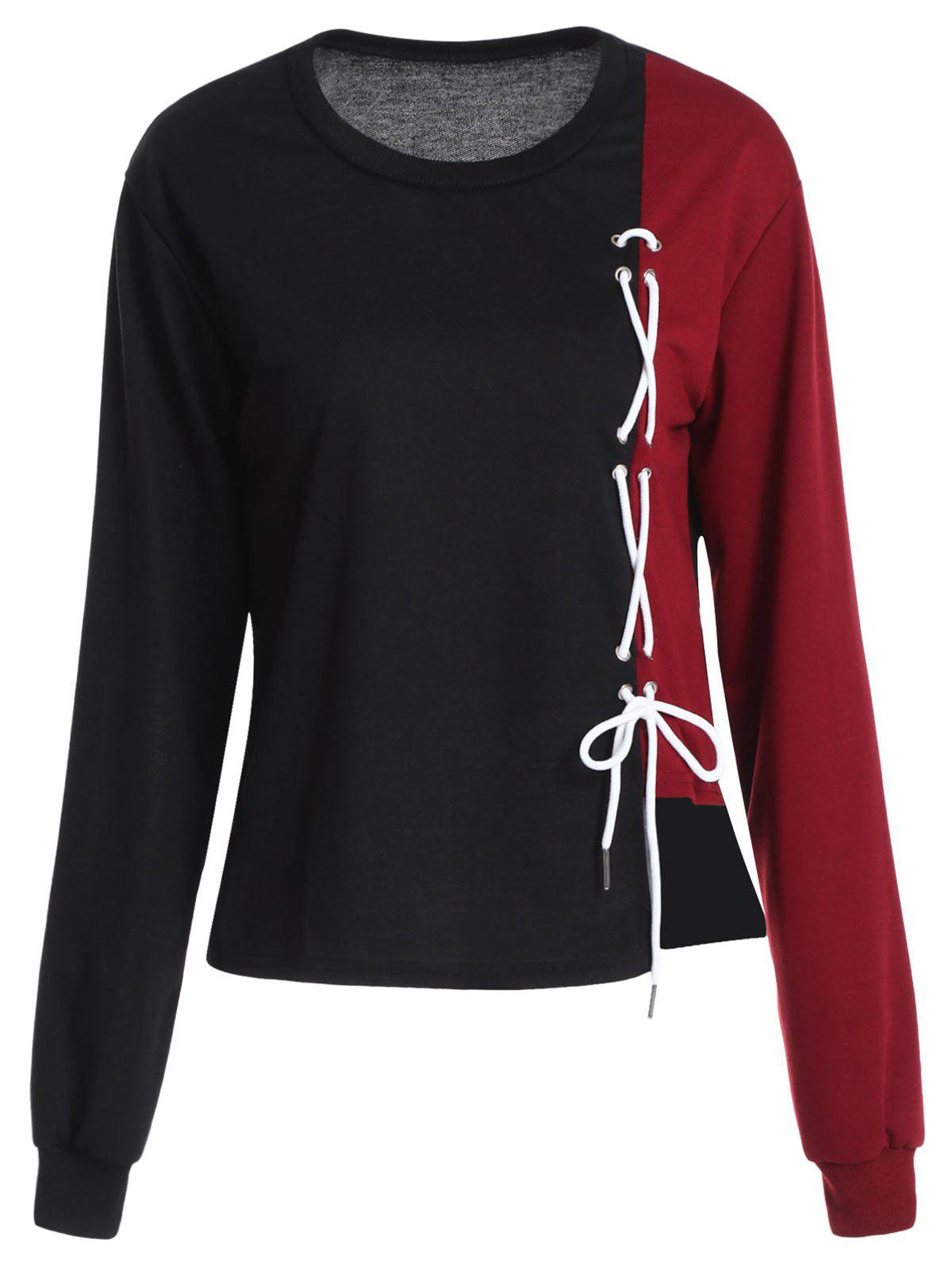 Two Tone Lace Up Sweatshirt - BLACK S