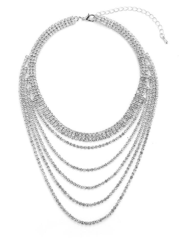 Rhinestone Multi Layered Necklace - SILVER