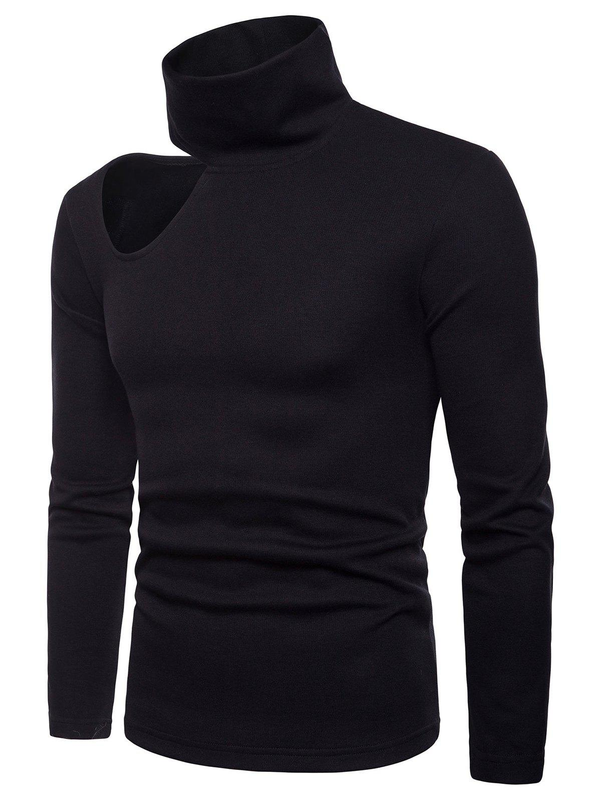 Whole Colored Side Off Shoulder Sweater - BLACK XL