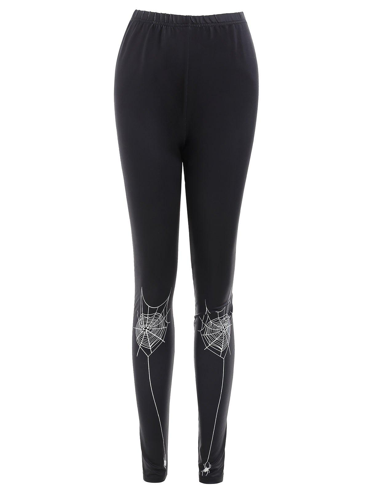 Spider Web Print Fitted Leggings - BLACK M