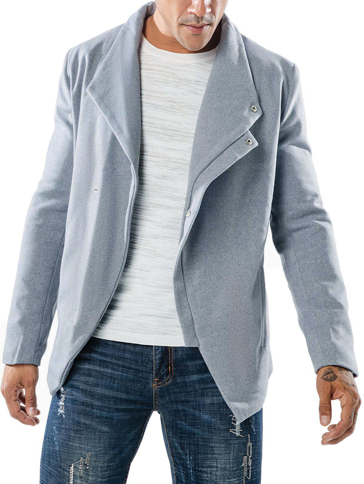 Slant Placket Casual Pockets Jacket - GRAY XL