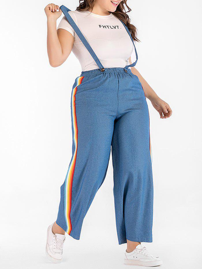 Plus Size Elastic Waist Suspender Jeans - DENIM BLUE 3X