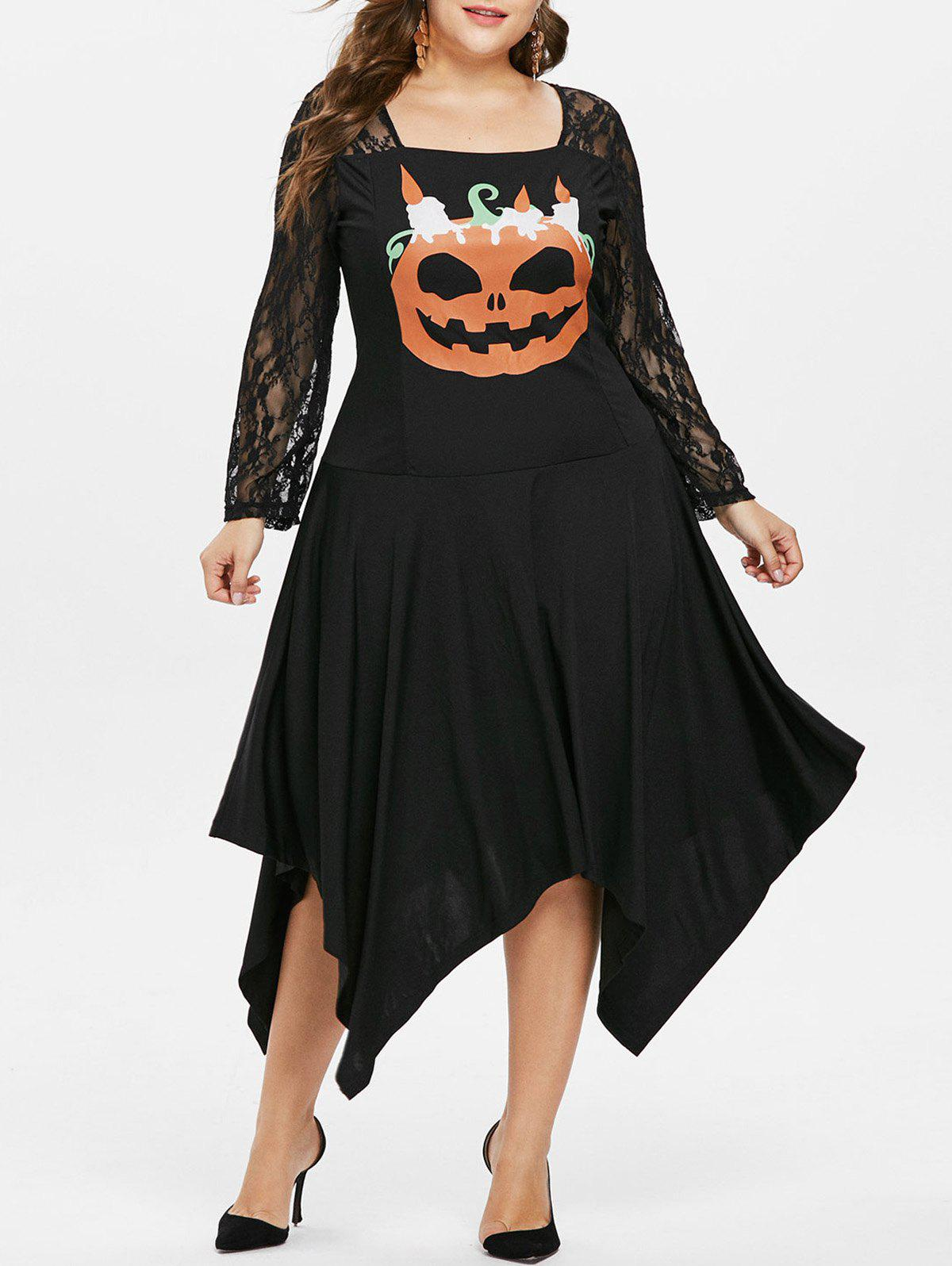 Plus Size Lace Panel Pumpkin Asymmetric Dress