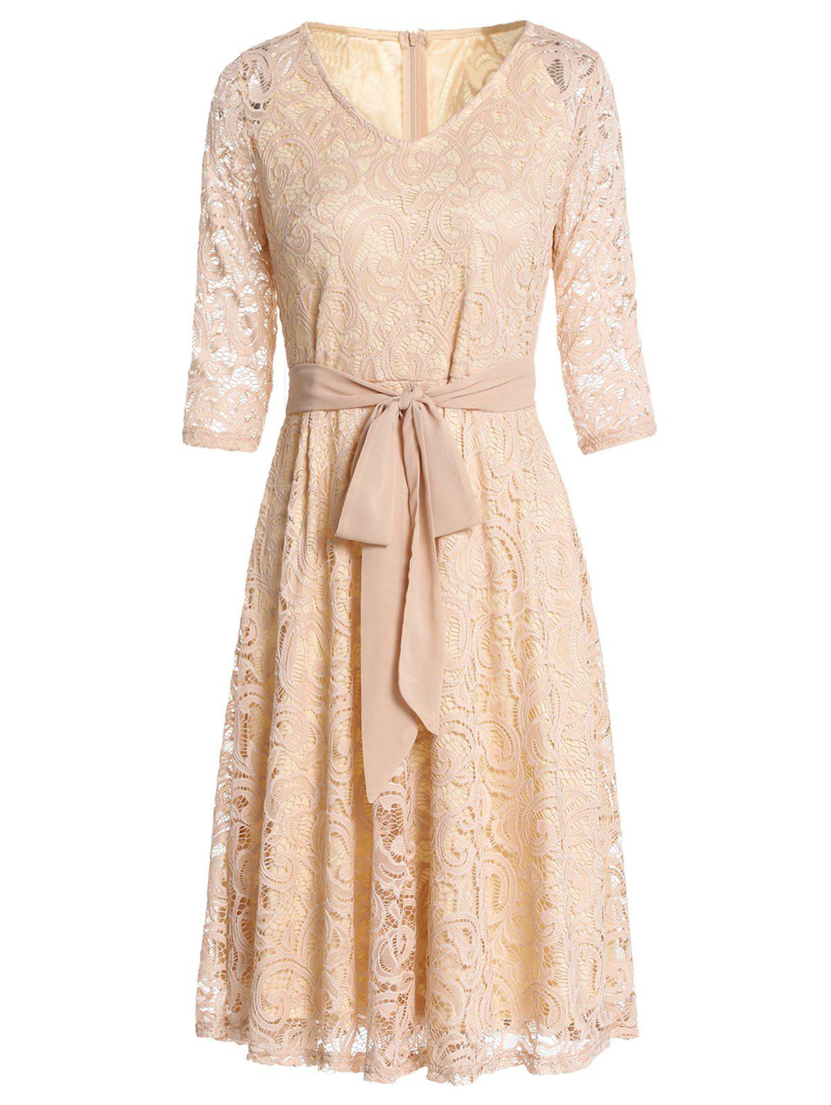 Retro Lace Belted Pin Up Dress - BLANCHED ALMOND S