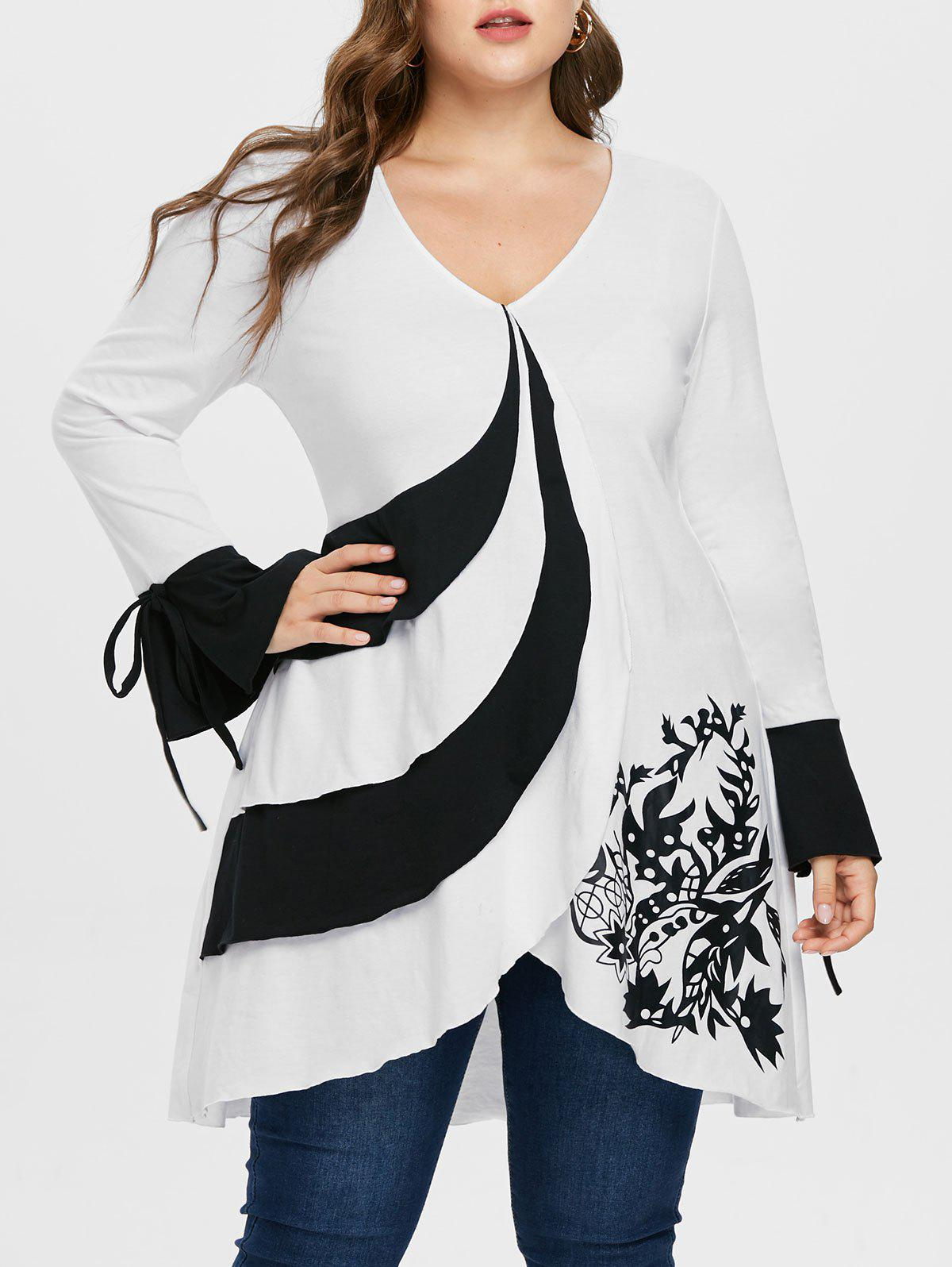 Plus Size V Neck Flare Sleeve T-shirt - WHITE L