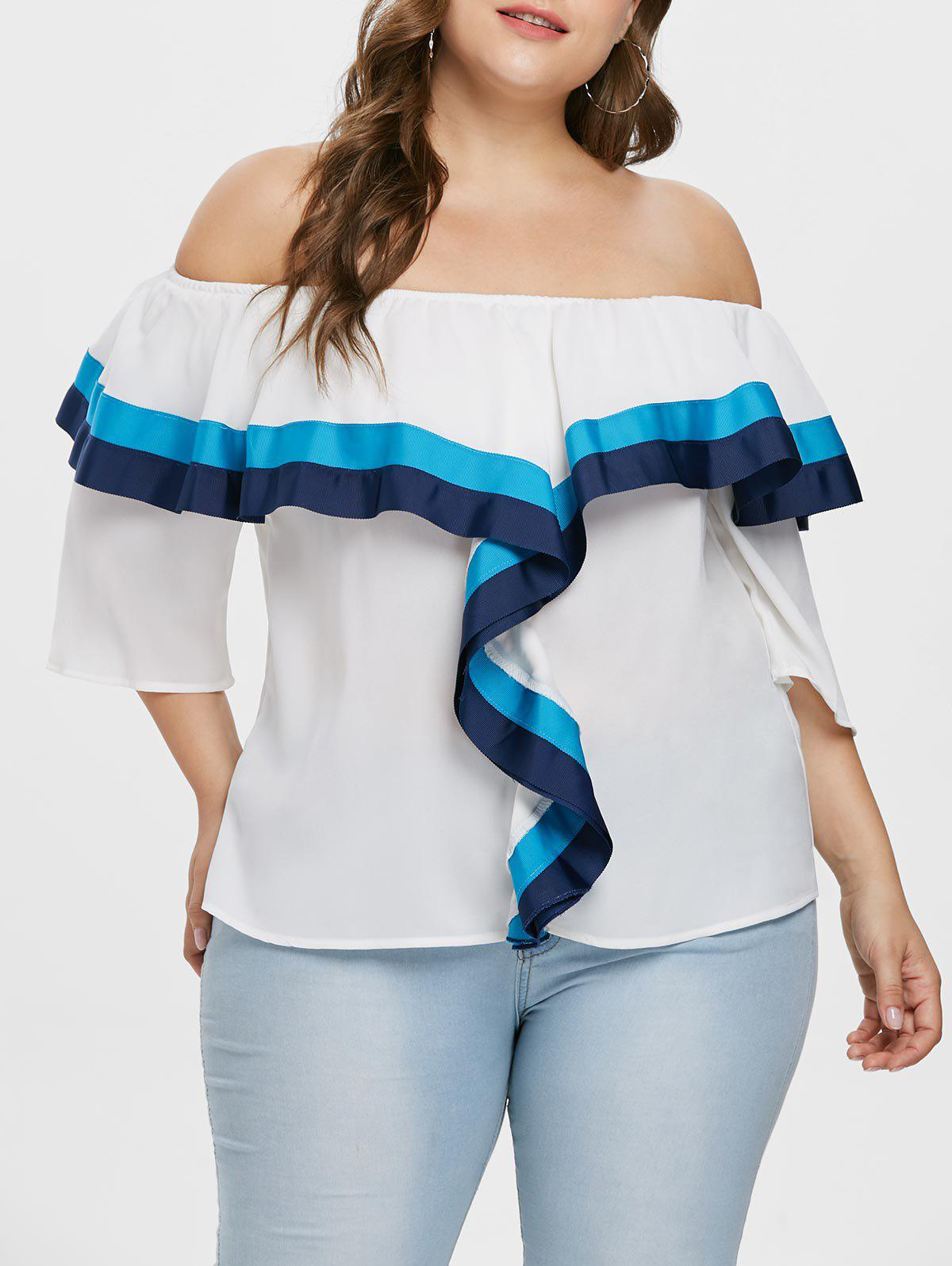 Color Block Ruffle Plus Size Blouse - WHITE 2X