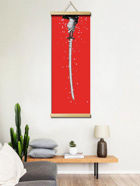 Katana and Sakura Print Wall Hanging Canvas Painting - multicolor 40*128CM