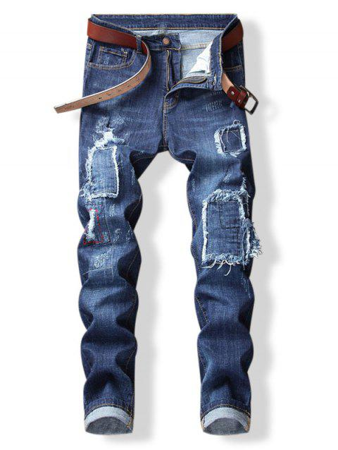 Distressed Patch Embellished Whiskers Jeans - JEANS BLUE 32