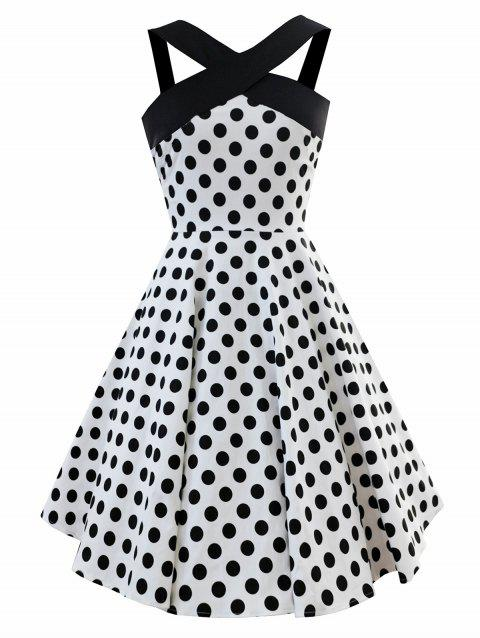 Vintage Criss Cross Dotted Pin Up Dress - WHITE XL
