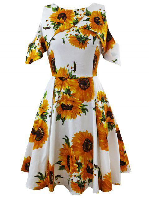 Open Shoulder Sunflower Fit and Flare Dress - WHITE M
