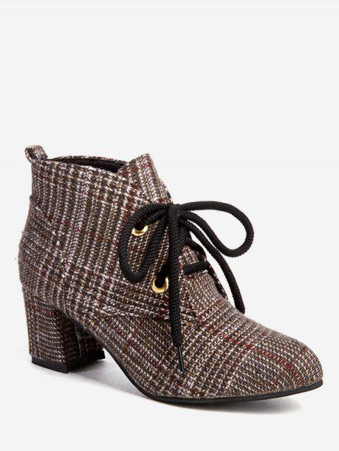 Lace Up Houndstooth Ankle Boots - BROWN EU 37