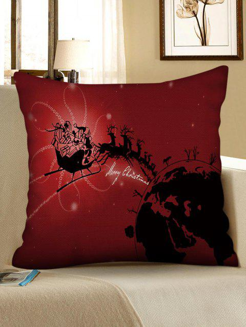 Christmas Carriage Pattern Decorative Pillowcase - RED WINE W18 X L18 INCH