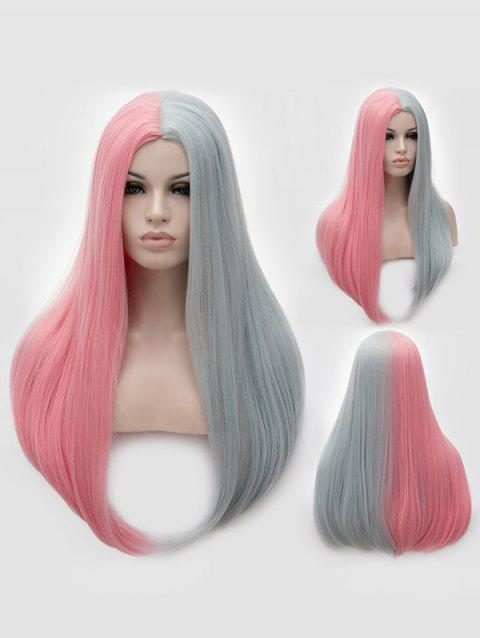 Middle Part Two Tone Long Straight Party Synthetic Wig - multicolor C
