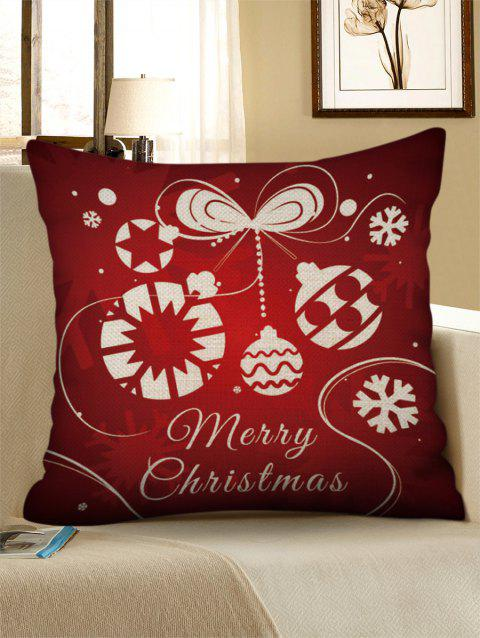 Christmas Ball Pattern Square Pillowcase - RED WINE W18 X L18 INCH