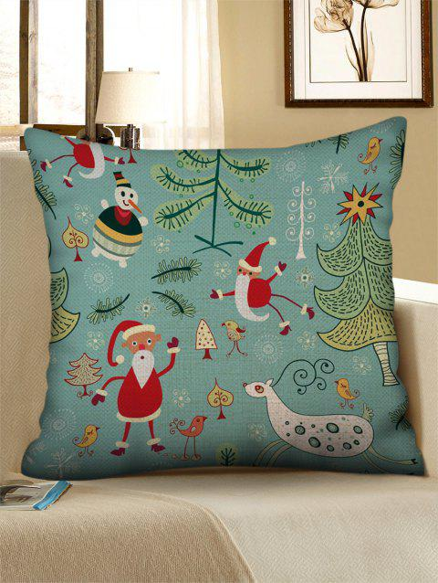 Christmas Cartoon Graphic Pattern Linen Pillowcase - multicolor W18 X L18 INCH