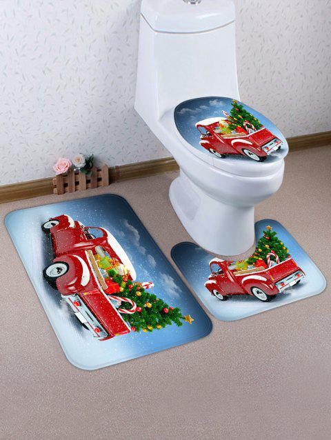 Christmas Tree Car Print 3 Pcs Bathroom Toilet Mat - multicolor
