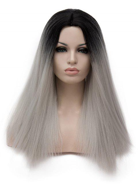 Middle Part Ombre Long Straight Party Synthetic Wig - PLATINUM