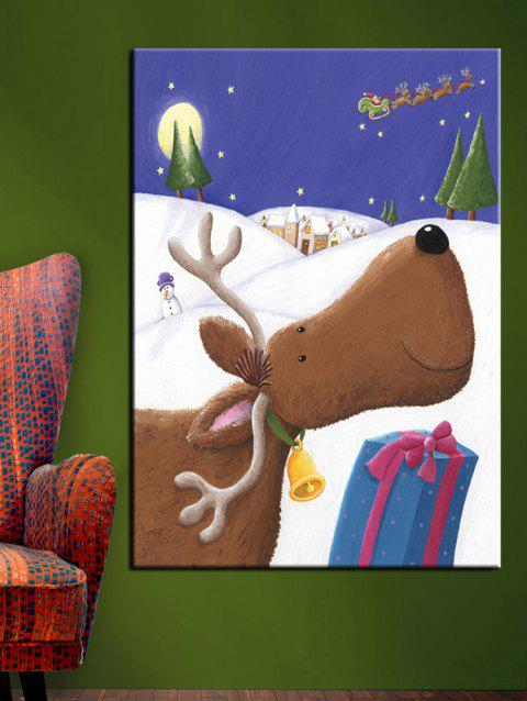 Christmas Deer Gift Print Unframed Canvas Paintings - multicolor 1PC:20*29.5 INCH( NO FRAME )