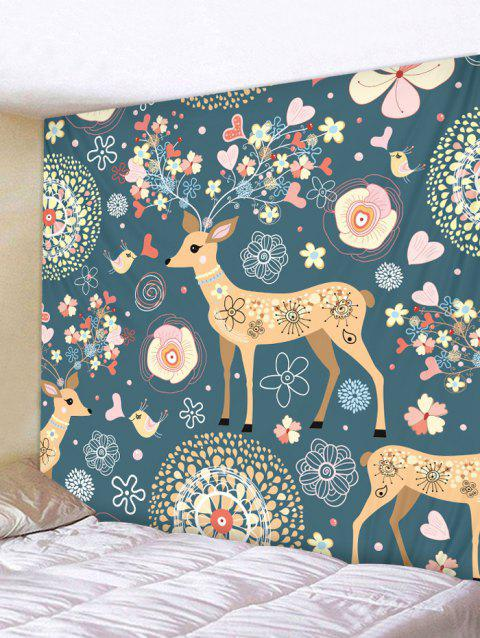 Deer Flower Print Wall Tapestry Art Decoration - multicolor W79 X L59 INCH