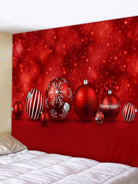 Christmas Ball Print Wall Tapestry Art Decor - RED W91 X L71 INCH