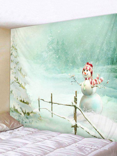 Christmas Snowman Printed Wall Tapestry Art Decoration - BLUE GREEN W59 X L51 INCH